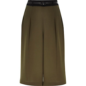 Khaki green smart culottes