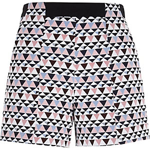 White geometric print high waisted shorts