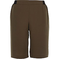 Khaki sporty side stripe shorts