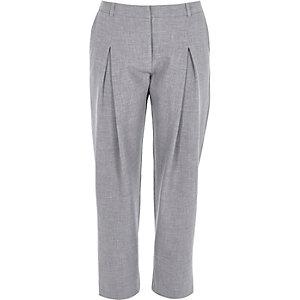 Grey peg leg trousers
