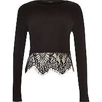 Black long sleeve lace hem crop top