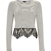 Black stripe lace hem long sleeve t-shirt
