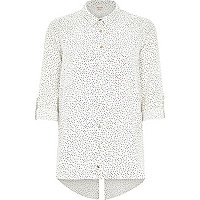 White pin spot print shirt