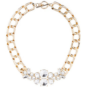 Gold tone chunky embellished chain necklace