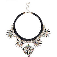 Black statement embellished necklace