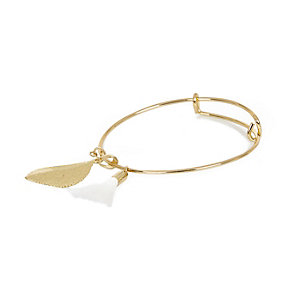 Gold tone tassel leaf bangle bracelet