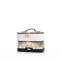 Pink baroque leopard print zip vanity case