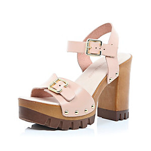 Pink leather chunky heeled sandals