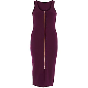 Berry red jersey zip front bodycon midi dress