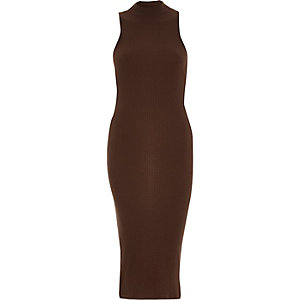Brown ribbed turtle neck bodycon dress