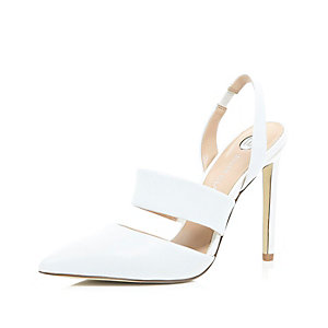 White leather sling back court shoes