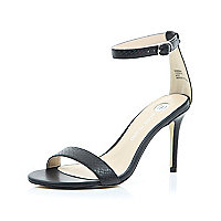 Black barely there mid heel sandals