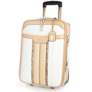 White colour block wheelie suitcase