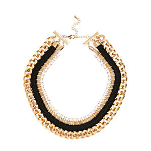 Gold tone tribal woven chain necklace