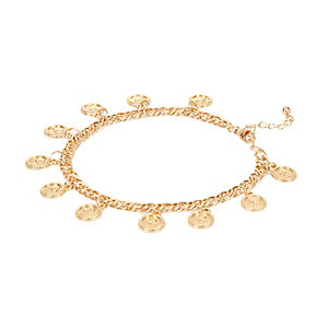 Gold tone coin repeater anklet