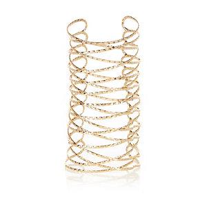 Gold tone spiral cuff bracelet