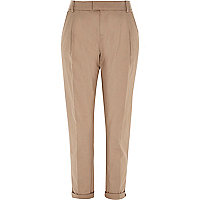 Beige casual turn up chino trousers