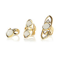 Gold tone tribal ring pack