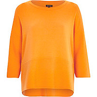 Orange 3/4 sleeve ribbed detail top