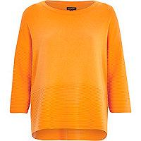 Orange 3/4 sleeve ribbed detail top