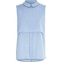 Blue chambray sleeveless shell shirt