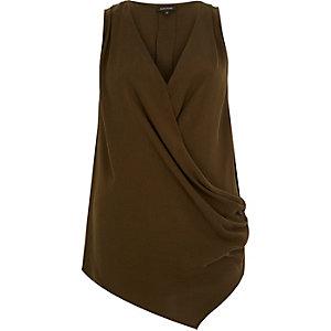 Khaki wrap front sleeveless blouse