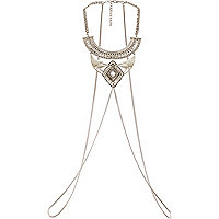 Silver tone panel body harness