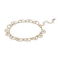 Gold tone diamante drape anklet