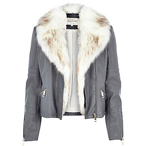 Grey leather-look faux fur biker jacket