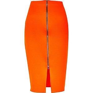 Bright orange zip front pencil skirt
