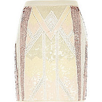 Light pink sequin mini skirt