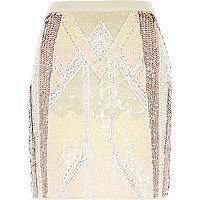 Light pink sequin mini skirt