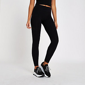 Black jersey high waisted extra long leggings