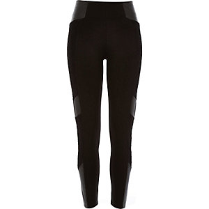 Black lace leather-look block panel leggings