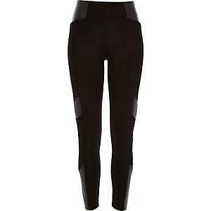 Black lace leather-look block panel leggings
