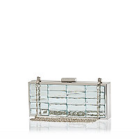 Silver mirror stone box clutch bag