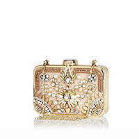 Light pink pearl embellished box clutch