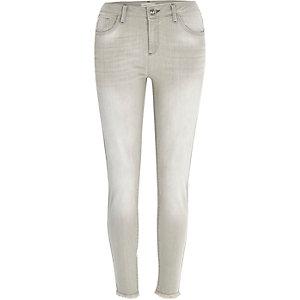 Grey raw hem Amelie superskinny jeans