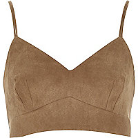 Brown faux suede cropped bralet