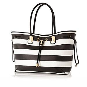 Black stripe drawstring beach bag