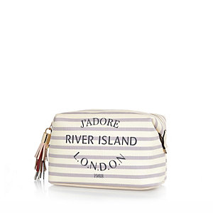 Cream stripe Paris print make up bag