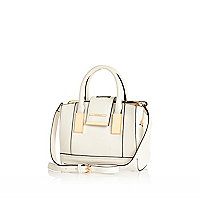 White mini frame flap handbag