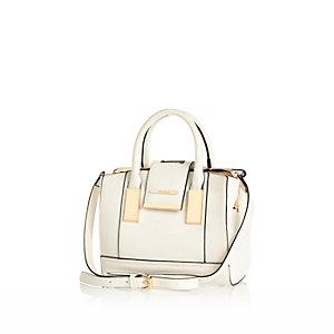 White mini frame flap handbag