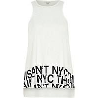 Cream NYC print swing tank top