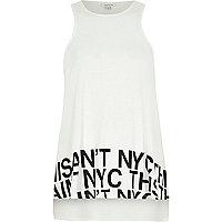 Cream NYC print swing tank top