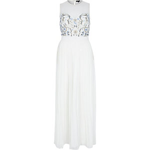 White sequin embellished pleated maxi dress