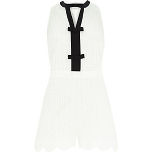 White textured smart bow front playsuit