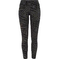 Black gold sparkle high waisted leggings