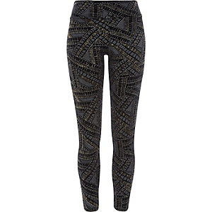 Black gold sparkle high waisted leggings