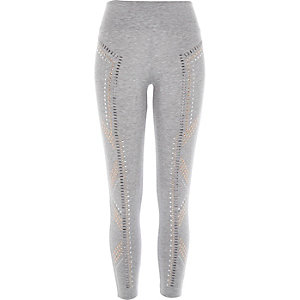 Grey embellished high waisted leggings
